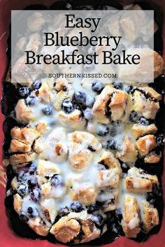 Easy Breakfast Muffins, Baked Breakfast Recipes, Blueberry Breakfast, Breakfast Bake, Breakfast Dishes, Breakfast Casserole, Breakfast Ideas, Breakfast Club, Blueberry Bread Pudding