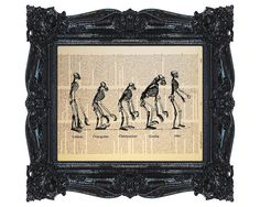Evolution of Man, Dictionary Print, Printed on Vintage Dictionary Paper, Recycled, Upcycled, 8x10 Print (#158)