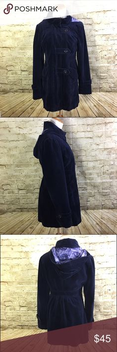 Idra Autumn Drive Navy Blue Hooded Coat Corduroy Name Brand: Idra Anthropolgie  Condition: Pre Owned, Excellent condition, no holes, stains or flaws to note  Size: 8 (see measurements)  Color: Blue  Style: Corduroy Style Coat with zipper closure and outside buttons. With hood and lined.  Two front pockets.  Material: Cotton ( see tag picture)   Always check the measurements, label sizes are not consistent.   Measurements are approximate, and are of item laying flat and unstreched: Waist…