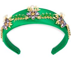 Dolce & Gabbana flower embellished headband ($2,095) ❤ liked on Polyvore featuring accessories, hair accessories, green, silk headband, head wrap hair accessories, embellished headbands, hair band accessories and dolce gabbana headband