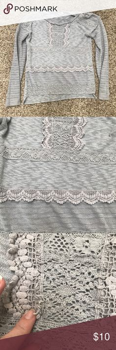 Anthropologie lace crochet knit hi-low pullover Blue-gray color. Soft, warm fabric. Oversized styling- measures approximately 20 inches underarm to underarm. Shows wash wear and slight fraying of lace detail. No stains or rips. Hi-low style. One September Sweaters Crew & Scoop Necks