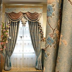 Vintage Lace Curtains in Combined Green Color for Fancy Living ...