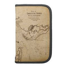 Classically stylish, this large Folio Planner features a vintage map of Charleston Harbor, South Carolina, as it appeared early in 1861 -- on the very eve of the Civil War -- printed by the engravers Elliott & Ames. Ideal for any lover of history.