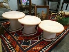"""Vintage Set of Three Stack Tables   Dealer #6450  21"""" Diameter x 16"""", 14"""", and 12"""" High   $685 Set   Lucas Street Antiques Mall 2023 Lucas Dr.  Dallas, TX 75219  Read more: http://dallas.ebayclassifieds.com/tables/dallas/vintage-set-of-three-stack-tables/?ad=38584573#ixzz3XLBY6hkk"""