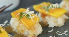 Dessert sushi is fun and easy to make. I used a fresh, ripe mango to make this mango and coconut sashimi recipe.