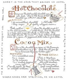 "Hot Chocolate Recipe and Cocoa Mix ""Gift in a Jar"" Recipe By Susan Branch Old Recipes, Vintage Recipes, Drink Recipes, Sweet Recipes, Yummy Recipes, Cookie Recipes, Branch Art, Hot Chocolate Recipes, Chocolate Mix"