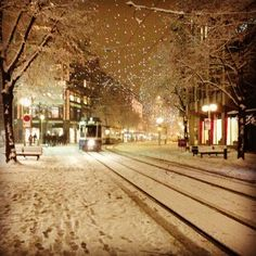 Wintry small town street at night.looks like my small town in winter. Winter Szenen, Winter Love, Winter Magic, Winter Night, Winter Christmas, I Love Snow, Snowy Day, Snow Scenes, Winter Beauty