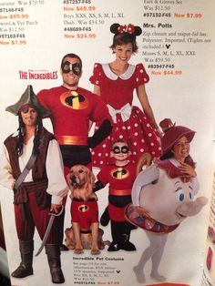 The Incredibles, Jack Sparrow, Minnie Mouse, Mrs. Potts Disney Costumes