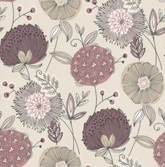 Eco Revival (5651) - Eco Wallpaper Wallpapers - Stylised large flower heads in romantic shades of purple with a black outlining on a cream background - more colours are available Please request a sample for true colour match. Paste-the-wall product.