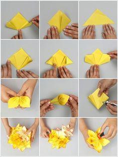 abat jour origami, feuilles de fleur jaune, tuto origami, projet diy en papier