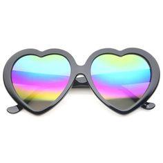 Women's Oversize Rainbow Colored Mirror Lens Heart Shaped Sunglasses 55mm