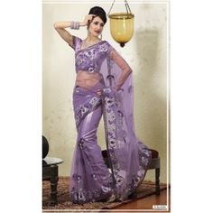 Violet shade Net embroidered saree