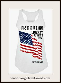 AMERICAN COWGIRL TANK TOP   PERFECT for the 4TH of JULY!  #4thofjuly #taanktop #clothing #top #racerback #flag #American #USA #America #liberty #justice #boutique #fashion #beautiful #cowgirl #cowgirlsuntamed