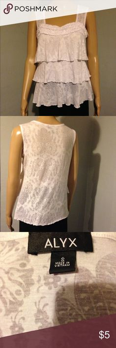 ALYX  Shirt White blouse with a nice design in the fabric.  Tag says a small, but it fits more like a med. Na Tops Blouses