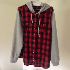 Red plaid lumberjack style hoodie New. Casual and comfy button up hoodie, size 1x. Thank you for visiting my closet, please feel free to ask questions. I offer great discounts on bundles  Miss Lili Jackets & Coats Blazers