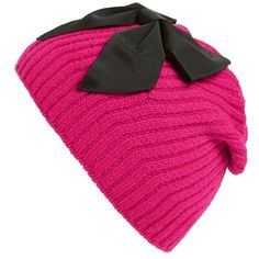 kate spade new york diagonal rib knit beanie ($58) ❤ liked on Polyvore featuring accessories, hats, sweetheart pink, kate spade, oversized beanie hat, pink beanie, bow beanie and kate spade hat