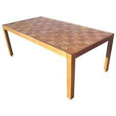 Parquet-Top Parsons Table | From a unique collection of antique and modern dining room tables at http://www.1stdibs.com/furniture/tables/dining-room-tables/