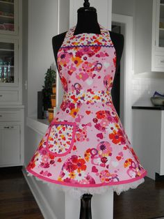 Valentines Floral Full Apron by MyEmptyNestDesigns on Etsy, $32.00