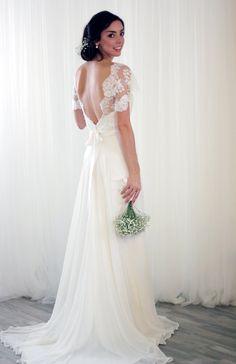 Ispirazione vintage pizzo abito da sposa in seta Chiffon