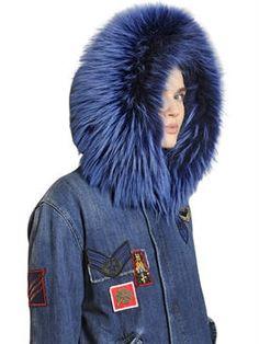 mr&mrs italy - women - fur & shearling - cotton denim parka with murmansky fur