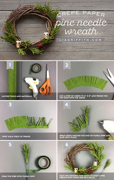 Crepe Pine Needle Wreath tutorial www.LiaGriffith.com