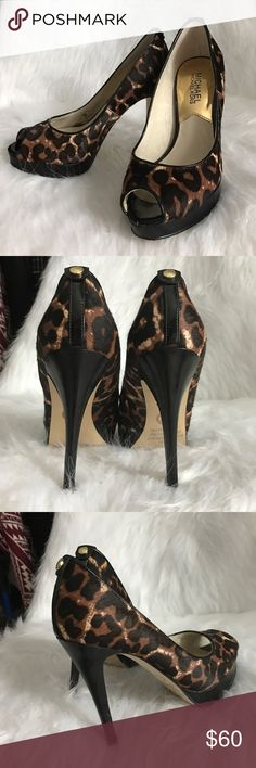Michael Kors Cheetah Heels💎 Few times worn. Excellent condition. Only has not critical stains inside (can be viewed on photo). The heel's height is 4 inches. Upper made of cow fur, peep toe, stacked heel Michael Kors Shoes Heels
