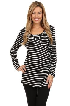 Long Sleeve Nautical Striped Maternity Nursing Top
