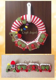 Crochet Christmas Wreath, crochet wreath, crochet train wreath, Christmas train, Christmas deco, Christmas decoration, front door wreath.