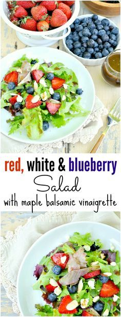 Celebrate summer with a simple, healthy, and delicious side dish! The colors of the fresh seasonal produce in this Red, White & Blueberry Salad with Maple Balsamic Vinaigrette are perfect for any July 4th gathering! Add some chicken and dinner is served...