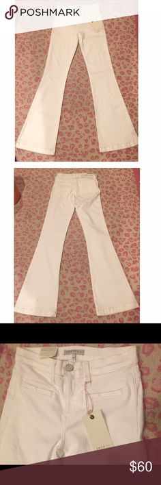 JOIE NOVEAU FLARE STRETCH JEAN These high wasted stretch Joie jeans are NWT. Super comfortable and VERY flattering. The perfect white summer Jean. Love. There are some signs of wear at the bottom, from being tried on in the store. They will definitely go away with one wash! Make an offer ❤️ Joie Pants Boot Cut & Flare