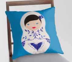 Original by Ohkissa. My blue babushka doll painting. You can also get this in a tote, poster, and greeting cards. great for birthday presents, christmas, Housewarming and for yourself.