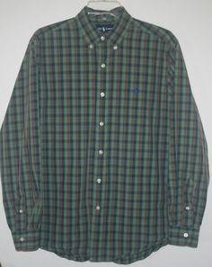 Ralph Lauren Classic Fit Button Front Shirt Large Green Plaid L #RalphLauren #ButtonFront