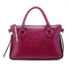 Fashion Zipper Design Solid Rose PU Shoulder Bag