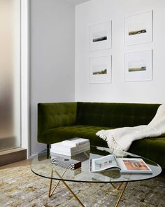 The Pedrera Coffee Table, accompanied by the moss green sofa and earthy carpet, bring some of the lush natural landscape to mitigate downtown Manhattan's concrete landscape in this New York based apartment. Photo by @dezeen.#gubi #gubiofficial #pedreratable #barbacorsini