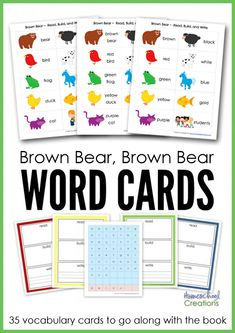Free Brown Bear Brown Bear Vocabulary Cards from Homeschool Creations