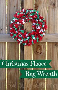 A #fabulouslyfestive Christmas Fleece Rag Wreath from @SensiblySara