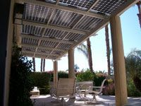 Don't want to put solar panels on your actual roof? No problem! Companies are creating Solar Canopies and Solar Awnings - protection from the sun while collecting it's energy for electricity...