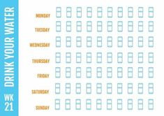 Drinking enough water is essential for a healthy lifestyle! Use this stunning blue water tracker to organize how much you drink on a daily basis. Weekly Planner Template, Family Calendar, Focus On Yourself, Staying Organized, Drinking Water, Planners, Healthy Lifestyle, Stress, Track