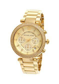 MICHAEL KORS Gold Ladies 39mm Parker Chronograph Bracelet Watch Michael Kors Sale, Designer Collection, Gold Watch, Chronograph, Bracelet Watch, Jewelry 2014, Tic Toc, Watches, Lady