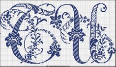 Free Easy Cross, Pattern Maker, PCStitch Charts + Free Historic Old Pattern Books: Sajou No 601 Cross Stitch Alphabet Patterns, Embroidery Alphabet, Cross Stitch Letters, Cross Stitch Bird, Embroidery Monogram, Cross Stitch Charts, Cross Stitch Designs, Cross Stitching, Cross Stitch Embroidery
