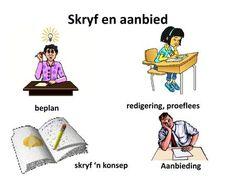 Skryf en aanbied redigering, proeflees beplan skryf 'n konsep> Afrikaans, Van, Comics, Memes, Words, Vans, Comic Book, Comic Books, Afrikaans Language