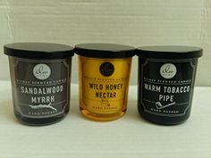 Introducing Dw Home Scented Candle Set  Warm Tobacco Pipe Wild Honey Nectar and Sandalwood Myrrh  Single Wick 4 Ounces each. Great Product and follow us to get more updates!