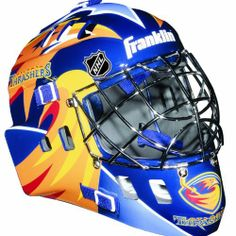 "NHL Atlanta Thrashers SX Comp GFM 100 Goalie Face Mask by Franklin. $32.57. Anatomically designed ACD vented shell, full coverage adjustable back plate, extended chin and jaw contoured design, adjustable elasticized quick-snap straps. Official NHL Team colors and logos. Molded high-impact ABS plastic, AEGIS MICROBE SHIELD antimicrobial technology and Chrome finish welded steel cage. Recommended sizing for ages 5 to 9. Only for Street Hockey use with official size (2 5/8"") s..."