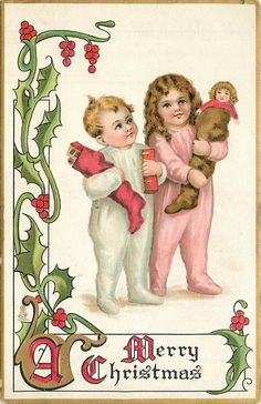 A MERRY CHRISTMAS  girl in pink & boy in white night attire carry stuffed stockings