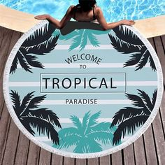 Tropical Round Beach Towel With Tassels Yoga Blanket, Beach Blanket, Picnic Blanket, Outdoor Blanket, Beach Bath, Beach Towel, Round Bath, Leaf Art, Beach Covers