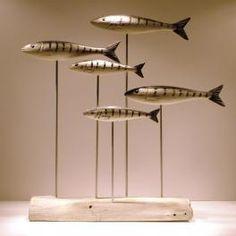 wooden fish mackerel shoal