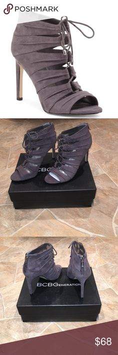 🚨Flash Sale Today Only🚨BCBG Peep Toe Gilly NIB Brand-new in box gray BCBGeneration peep toe Gilly Shooties. Size 7. Faux suede texture with cut out detail and lace up vamp. 4 inch heel. Back zip closure. Fabric upper and leather sole. Retails for over $120. Absolutely stunning shoe❣😍 BCBGeneration Shoes Heels