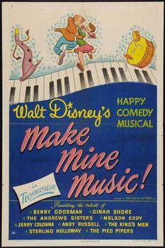 Make Mine Music Movie Poster 27x40 B Nelson Eddy Dinah Shore Benny Goodman - ESCANO COLLECTION