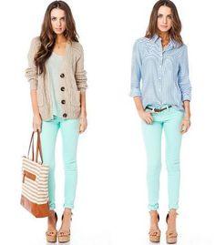 Chambray Shirt. Colored Skinnies. Statement Flats. | Style: Fall ...