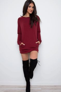 Sybill Sweater Dress - Burgundy